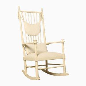 Rocking Chair Vintage Blanche, Suède