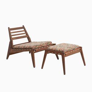 Mid-Century Stuhl und Ottoman