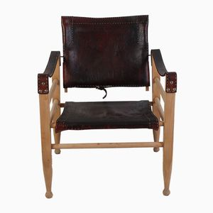 Mid-Century Dark Brown Safari Chair by Børge Mogensen