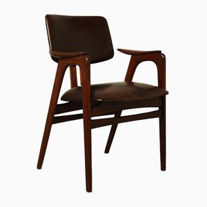 Brauner Kunstleder Armlehnstuhl von Cees Braakman für Pastoe, 1950er