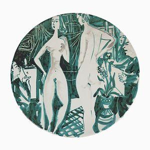 Vintage Steingut Teller von Roger Picault, 1950er