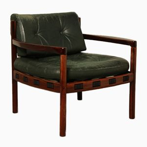 Mid-Century Green Leather Coja Armchair by Arne Norell