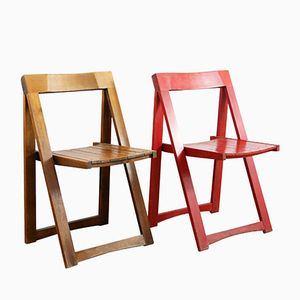 Mid-Century Cream and Red Folding Chairs by Aldo Jacober for Alberto Bazzani, 1966, Set of 2