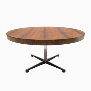 Mid-Century Hight-Adjustable Rosewood and Glass Coffee or Dining Table
