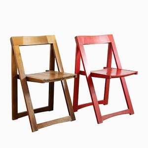 Mid-Century Red Folding Chairs by Aldo Jacober for Alberto Bazzani, 1966, Set of 2