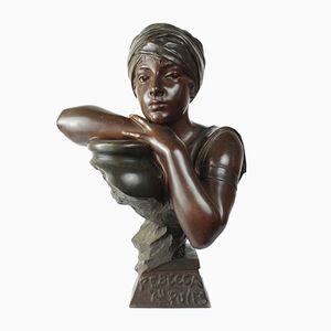 Buste Art Nouveau Rebecca au Puits en Bronze par Emmanuel Villanis, France,1900s