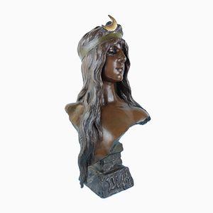 Busto Diane Art Nouveau in metallo di Emmanuel Villanis, Francia, inizio XX secolo