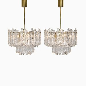 Mid-Century Ice Glass Chandeliers from Kinkeldey, 1970s, Set of 2