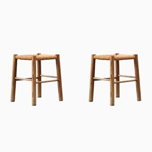 Mid-Century French Straw Stools, 1950s, Set of 2