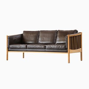 Mid-Century Scandinavian Brown Leather Sofa, 1970s
