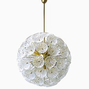 Mid-Century German Starburst Sputnik Chandelier with 79 Glass Flowers, 1965