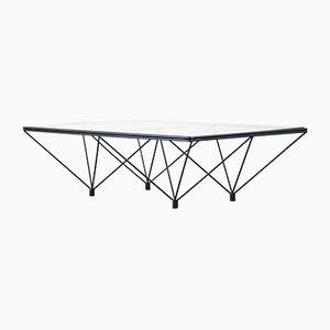 Table Basse Vintage Géométrique avec Plateau en Verre