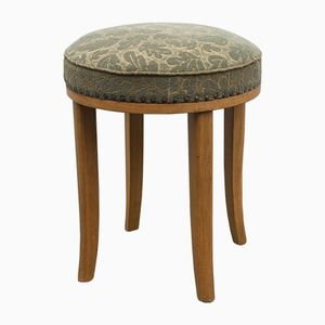 Stool in Light Oak with Floral Fabric, 1950s
