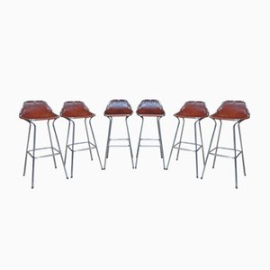 Hourglass Framed Leather Les Arcs Stools by Charlotte Perriand for Cassina, 1960s, Set of 6