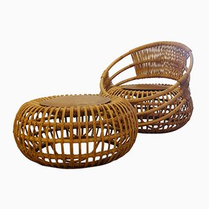 Rattan Garden Chair & Ottoman by Ico Parisi for Bonacina, 1959