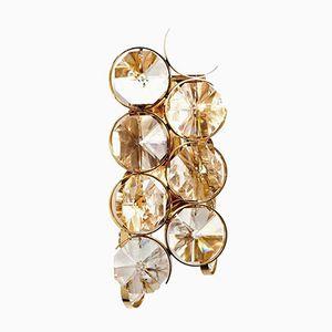 Modernistische Vergoldete Wandlampe aus Messing & Glas von Palwa, 1960er