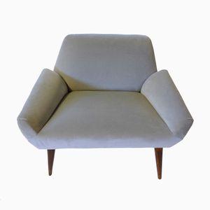 Italian Grey Velvet & Rosewood Armchair, 1950s