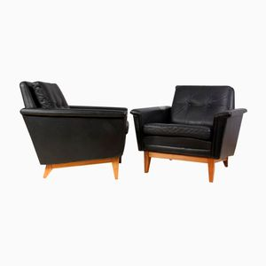 Mid-Century Danish Buttoned Leather and Rosewood Chairs, 1960s, Set of 2