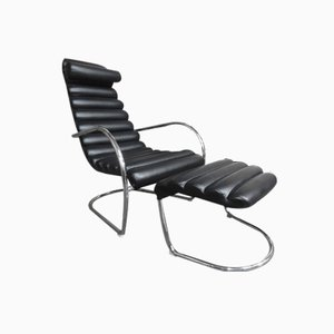 Italian Tubular Black Leather Lounge Chair with Ottoman, 1980s