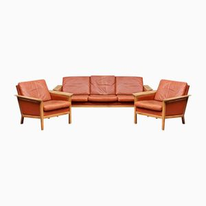 Vintage Danish Leather Living Room Set from Jeki Mobler