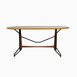 Mid-Century Metal, Wood and Painted Glass Dining Table, 1950s