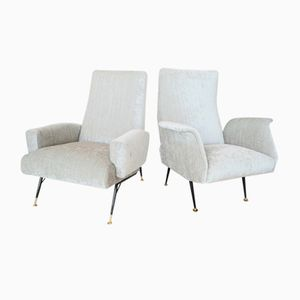 Her & Him Italian Velvet & Brass Armchairs, 1950s, Set of 2