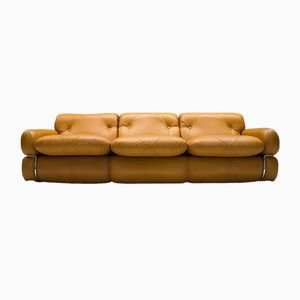Vintage Italian Freestanding Three-Seater Leather Sofa