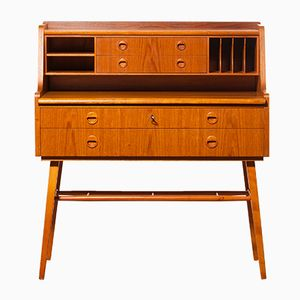 Swedish Teak Desk with Extendable Writing Surface, 1950s