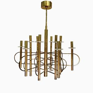 Glass and Brass Chandelier by Gaetano Sciolari