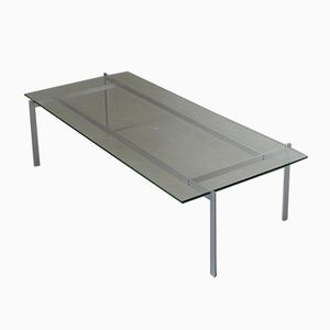 Minimalist Steel and Glass Rectangular Coffee Table, 1960s