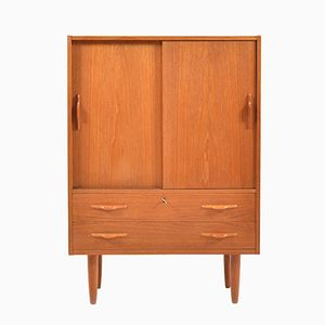Danish Teak Cabinet with Sliding Doors, 1950s