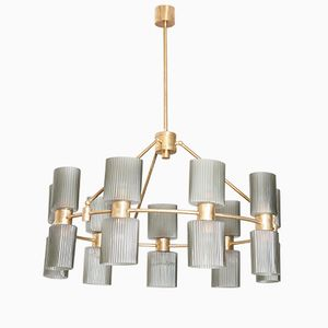 Murano Glass Ceiling Lamp with 18 Ribbed Diffusers, 1980s