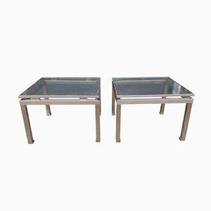 Beistelltische aus Messing und Stahl von Guy Lefevre für Maison Jansen, 2er Set