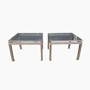 Brass & Steel Side Tables by Guy Lefevre for Maison Jansen, Set of 2