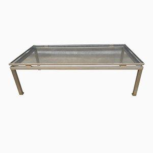 Modernist Brushed Steel Coffee Table by Guy Lefevre for Maison Jansen