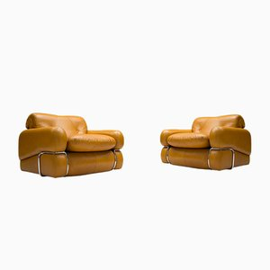 Vintage Cognac Leather Armchairs, Set of 2