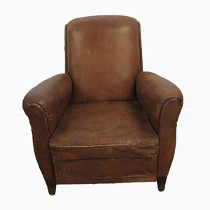 Vintage Club Chair in Camel Leather
