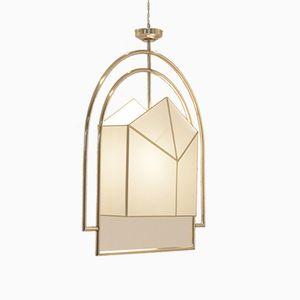 Große Französische Art Deco Deckenlampe aus Messing & Stoff