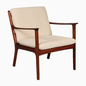 Danish PJ 112 Beige Fabric Easy Chair by Ole Wanscher for PJ Møbler, 1960s
