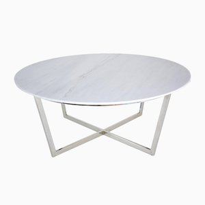 Table Basse Mid-Century en Acier et Marbre