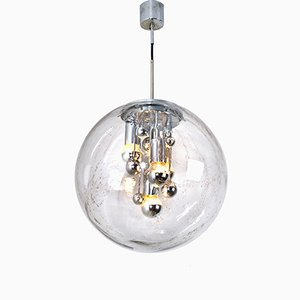 Large Hand-Blown Bubble Glass Pendant Light from Doria, 1970s