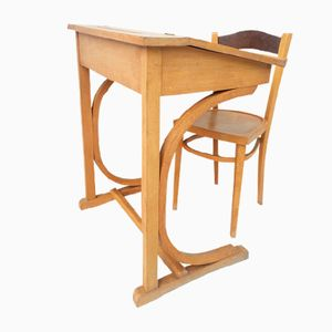 Vintage French Children's Desk and Chair, 1960s