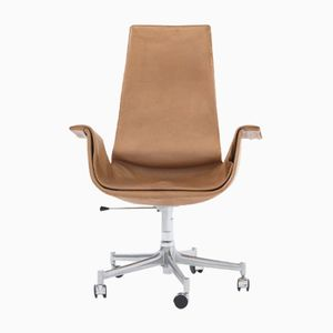 Brown Leather Tulip Chair by Fabricius & Kastholm for Kill International