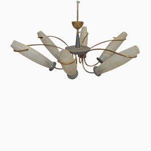 Große Italienische Deckenlampe mit Sechs Leuchten aus Messing & Opalglas