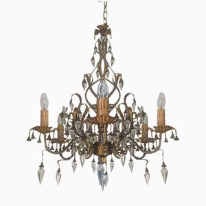 Vintage Crystal & Murano Glass Chandelier, 1960s