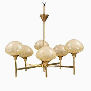 Brass and Glass Chandelier, 1970s