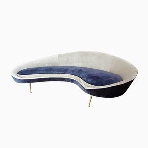 Italienisches Gebogenes Sofa aus Samt von ISA, 1960er