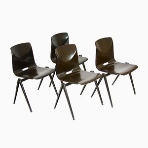 Vintage Belgian Industrial Chairs, 1970s, Set of 4