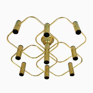 Italian Ceiling Lamp in Brass, 1970s