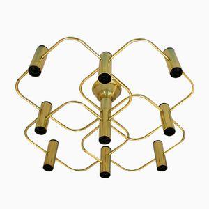 Italienische Messing Deckenlampe, 1970er